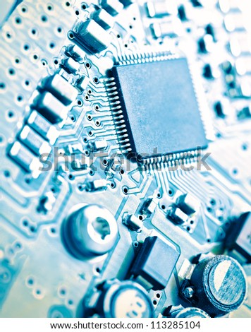 Computer electronic circuit board background - stock photo