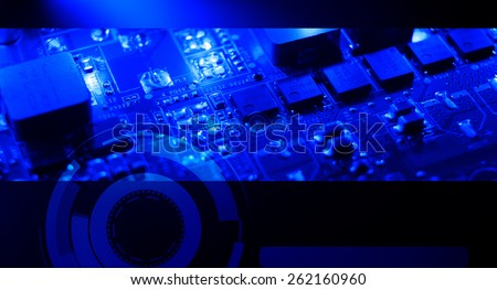 Computer electronic dark blue background