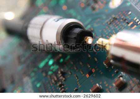 Computer electronics. Fiber optic cable connector in focus - stock photo