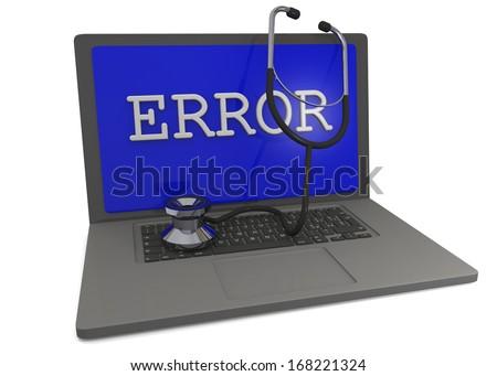 Computer Error - 3D - stock photo