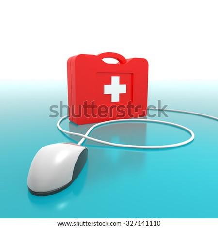 Computer First Aid Kit. Isolated On Blue Background.