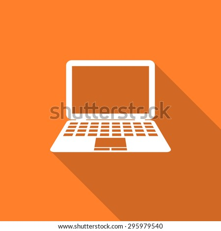 computer flat design modern icon with long shadow for web and mobile app  - stock photo