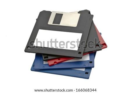 Computer floppy disk closeup on white  - stock photo
