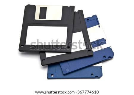 Computer floppy disk on white background - stock photo