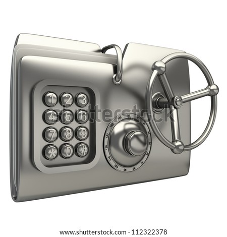 computer folder designed to seem a safe isolated on white background Concept of protection of digital data 3d render - stock photo
