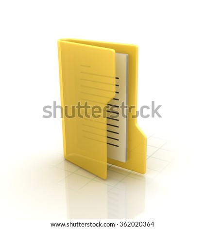 Computer Folder with Documents - High Quality 3D Render - stock photo