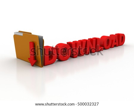 Computer Folder with downloding Arrows - High Quality 3D Render