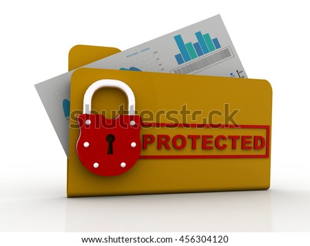 computer folder with padlock. 3D illustration. - stock photo