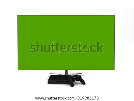 Computer gaming and entertainment technology concept: 3d generated mock-up television, gamepad and game console isolated