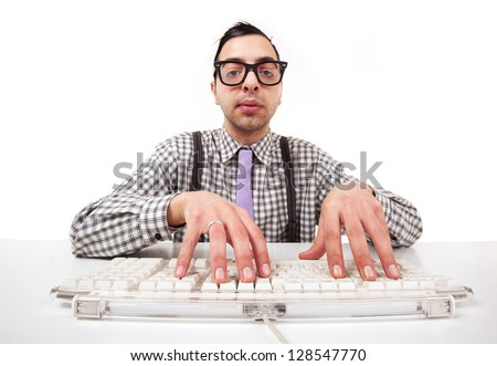Computer geek portrait with keyboard and eyeglasses isolated on white background. - stock photo
