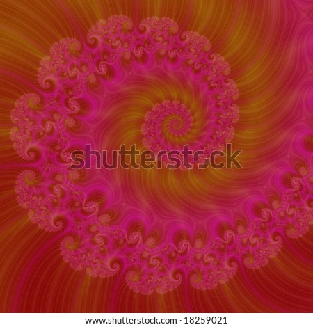 Computer generated abstract image in a red spiral design.