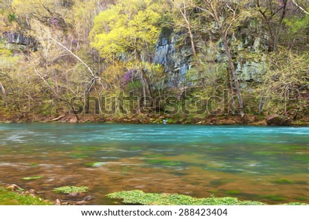 Computer generated artistic image from a photograph of Big Spring in Missouri. - stock photo