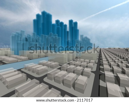 Computer generated 3d city model