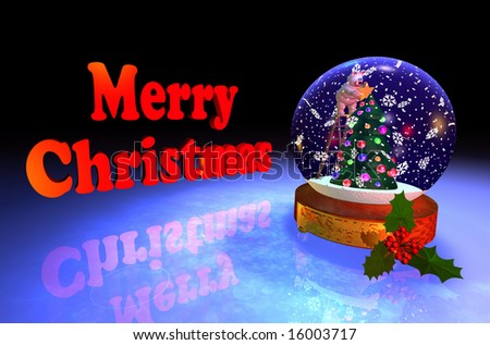 Computer-generated 3D graphic depicting a snowglobe with Christmas tree - stock photo
