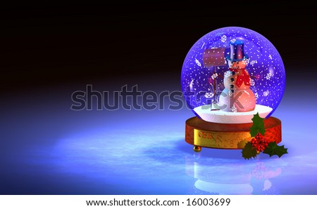 Computer-generated 3D graphic depicting a snowglobe with snowman