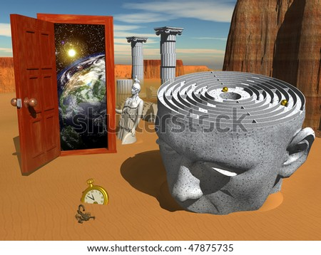 Computer-generated 3-D illustration depicting a surrealistic scene - stock photo