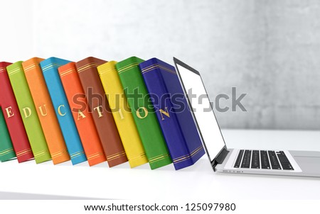 Computer generated 3D illustration of multi colored books in a row. Electronic education concept. - stock photo