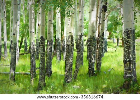 Computer generated digital art of a forest of aspen trees in Colorado. - stock photo