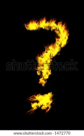 Computer generated flame question mark. - stock photo