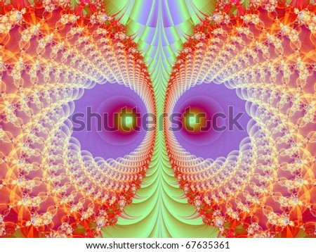 Computer generated fractal image with an owl face design in orange green and purple.