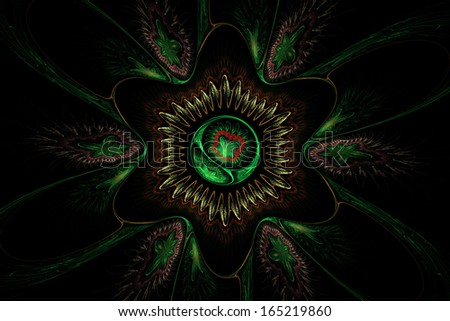 Computer generated green flower abstract fractal flame black background modern art.