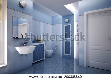 Computer generated illustration of a beautiful blue bathroom - stock photo