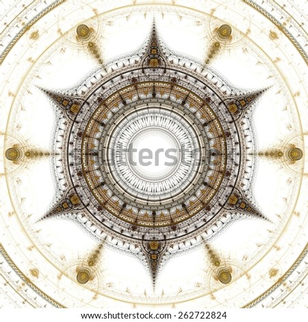 Computer generated illustration rendered fractal showing solar  - stock photo