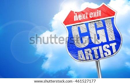 computer generated image artist, 3D rendering, blue street sign