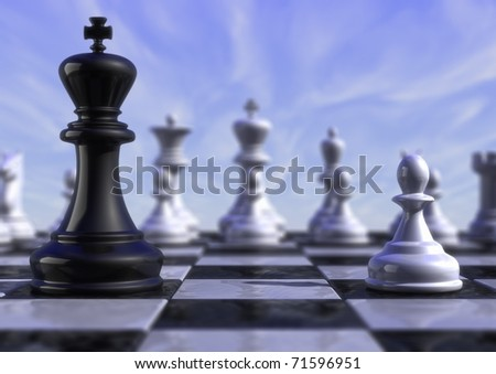 computer generated image of a chessboard king versus pawn - stock photo