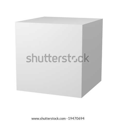Computer generated image of a 3D blank white cube.  Customize this to make it your own.