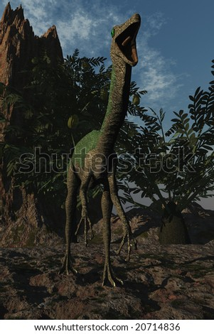 Computer Generated Image Of A Gallimimus Dinosaur