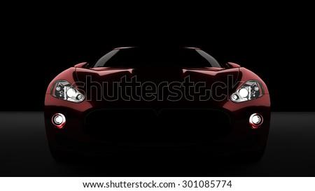 Computer generated image of a luxury sports car, studio setup, dark background. - stock photo