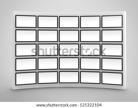 Computer generated image of blank presentation screen wall on gray background - stock photo