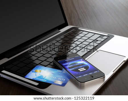 Computer generated image of mobile phone with mobile banking application on screen and credit card on laptop.