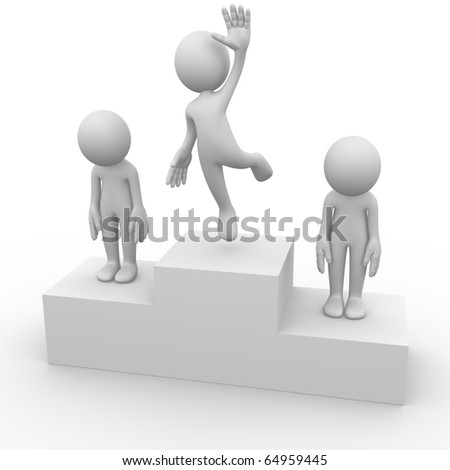 Computer generated image of people on a podium