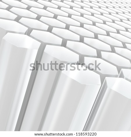 Computer generated image of white semitransparent hexagon shapes - stock photo
