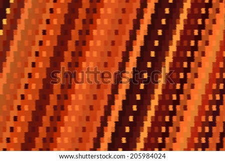 Computer-generated irregular diagonal weave pattern in orange, brown, black, and yellow spiked zigzag bars. - stock photo