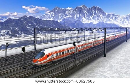 Computer generated red modern high speed train passing snowy mountain railroad station