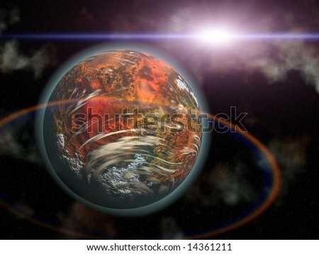 Computer generated Red planet and alien sun in space