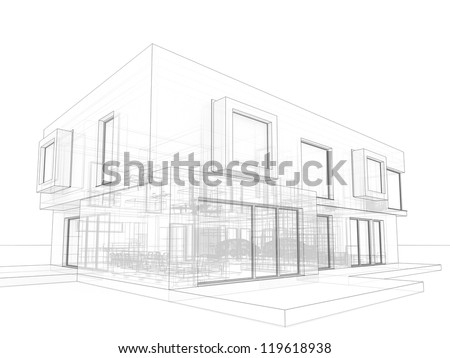 computer generated visualization in drawing style of contemporary box house  - architects and designers project work - stock photo