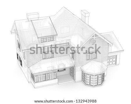 Computer generated visualization in transparent-technical drawing style of classic victorian house