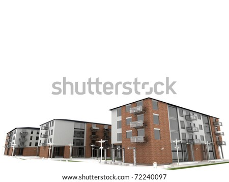 computer generated visualization of apartment building. bottom view. - stock photo