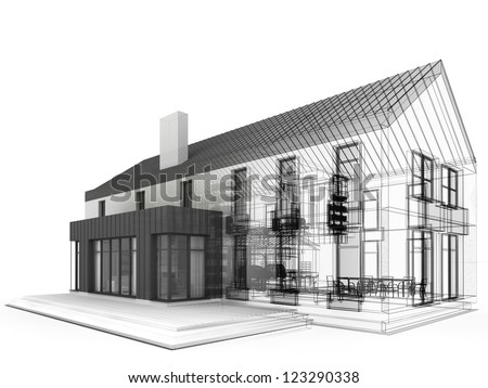 computer generated visualization of classic residential house. Project during work, with visible wire frame of construction lines. - stock photo