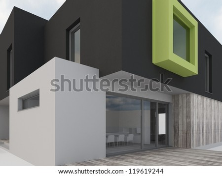 computer generated visualization of contemporary box house - architects and designers project