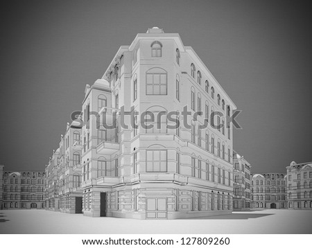 Computer generated visualization of old european city - vintage style graphic drawn on canvas with vignetting. - stock photo