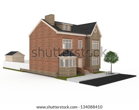 computer generated visualization of victorian terraced house, common architecture for United Kingdom. - stock photo