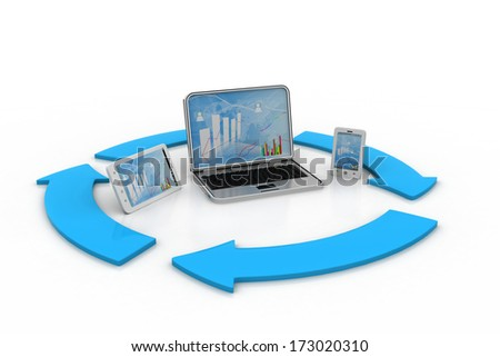 Computer generation in arrow circle - stock photo