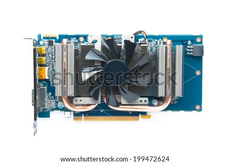 Computer graphic card, VGA Card Isolated on white background. - stock photo