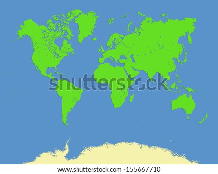 Computer graphic of World map with minimal bevel ,emboss and drop shadow style - stock photo