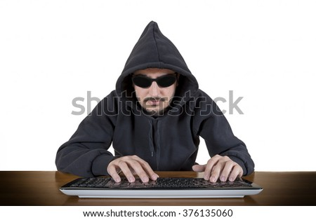 Computer Hacker Isolated On White Background - stock photo